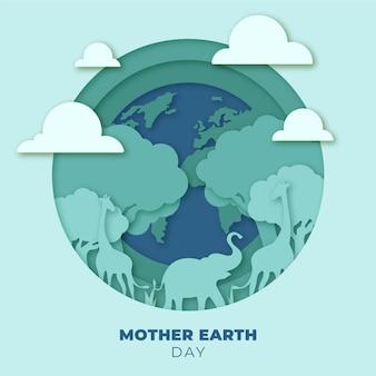 종이 스타일의 어머니 지구의 날 그림