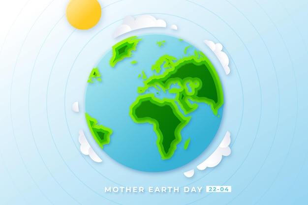 Illustrazione di madre terra giorno in stile carta