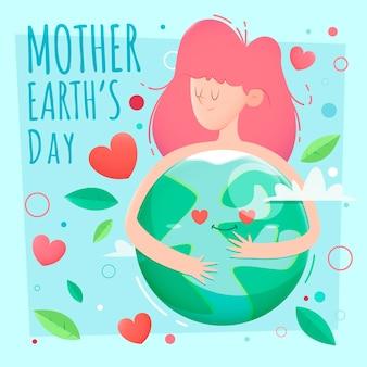 フラットなデザインで母なる地球の日