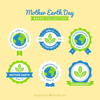 Raccolta di etichette di mamma terra giorno