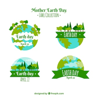 Mother earth day labels collection with world
