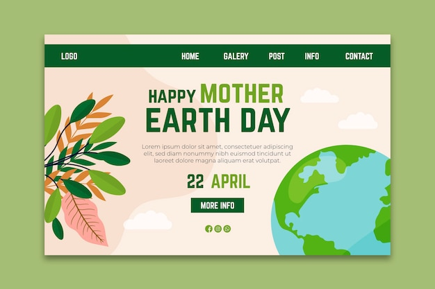 Mother earth day landing page template