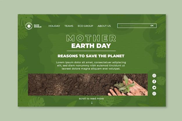 Modello di pagina di destinazione per la giornata della madre terra