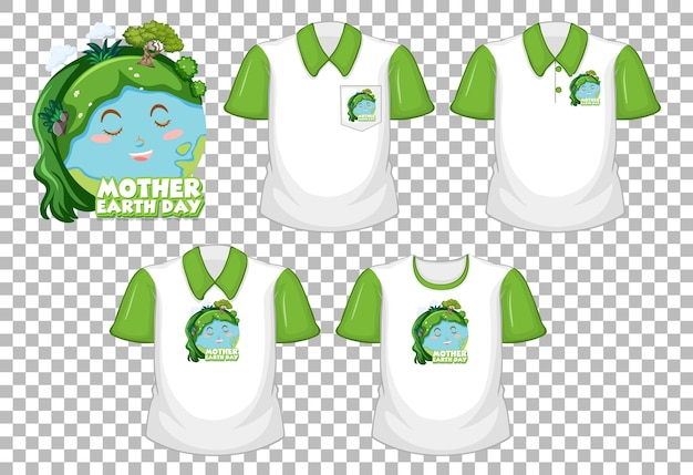 투명 한 배경에 고립 된 다른 셔츠 세트와 어머니 지구의 날 로고