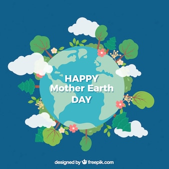 Mother earth day nice background in flat design