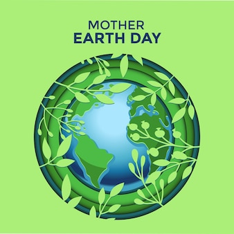 Mother earth day paper cut illustration