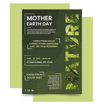 Mother earth day poster template