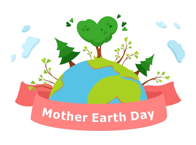 Mother earth day vector concept illustration