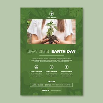 Mother earth day vertical poster template