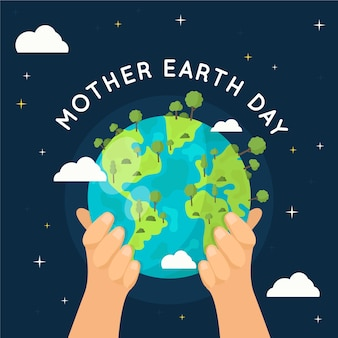 Mother earth day wallpaper flat design