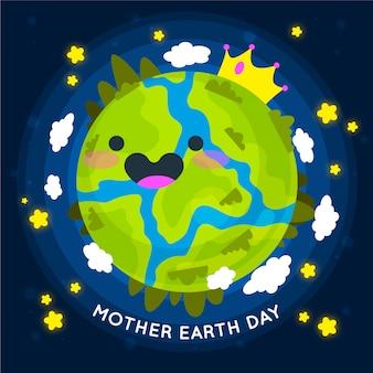 フラットなデザインスタイルの母地球の日の壁紙