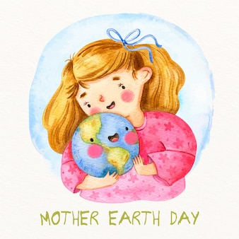 Mother earth day in watercolor