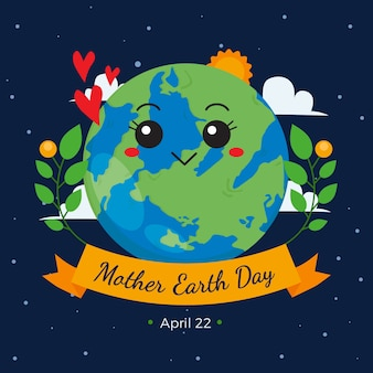 Mother earth day with cute planet and plants