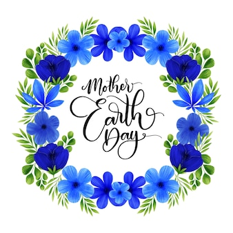 Mother earth day with flower wreath