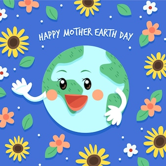 Mother earth day with flowers and leaves