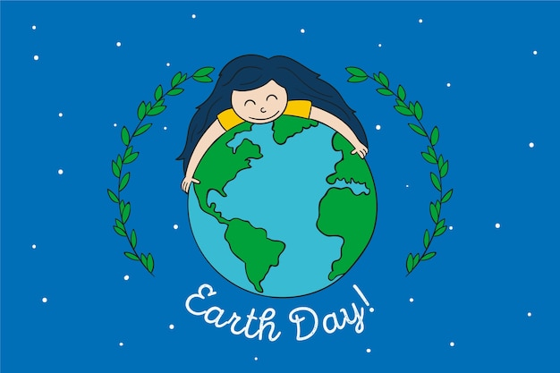 Mother earth day with girl hugging the earth