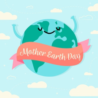 Mother earth day with hand drawn design