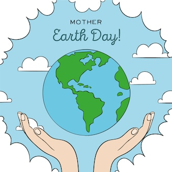 Mother earth day with hands and planet earth