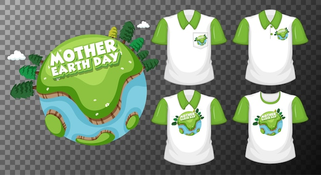 透明に分離されたさまざまなシャツのセットと母なる地球デー