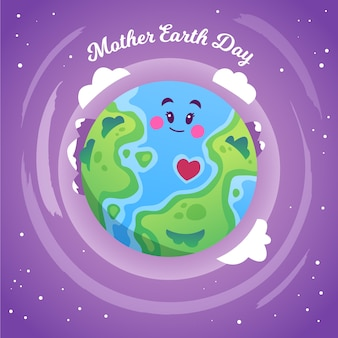 Mother earth day with smiley planet and clouds
