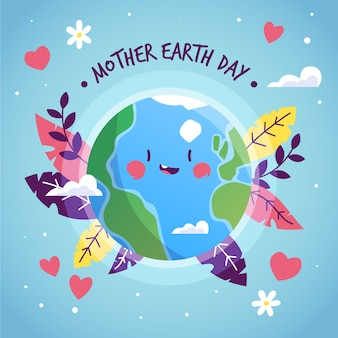 Mother earth day with smiley planet and leaves