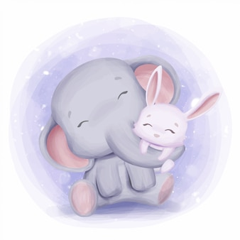Mother elephant hugging rabbit with love