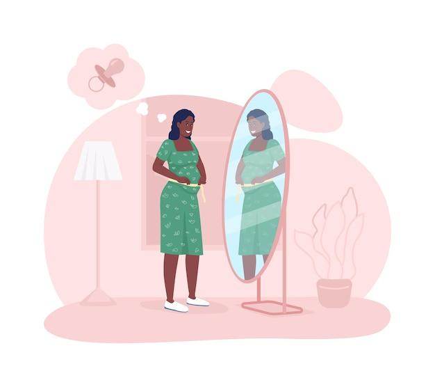 Мать ожидает ребенка 2d вектор изолированных иллюстрация. беременная женщина смотрит в зеркало. леди измерения живота младенца. молодой будущий родитель плоский персонаж на фоне мультфильма. красочная сцена беременности