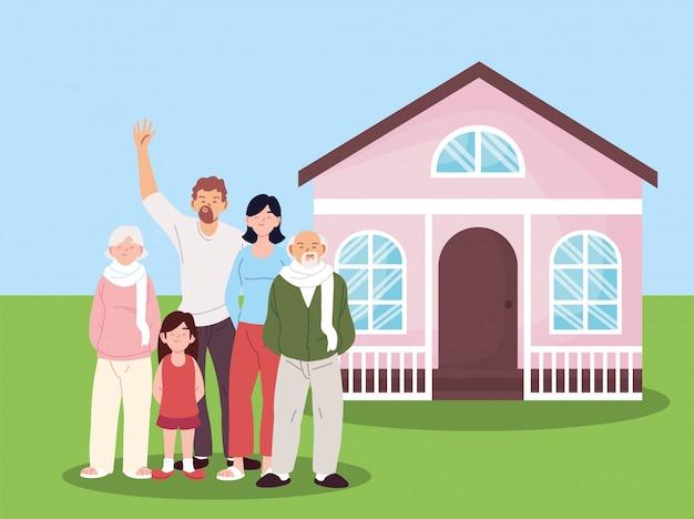 Мать, отец и дочь с бабушками и дедушками мультфильмы перед дом вектор