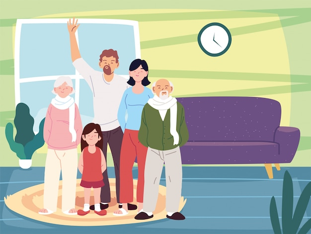 Мать, отец и дочь с бабушками и дедушками мультфильмами в векторе домашней комнаты