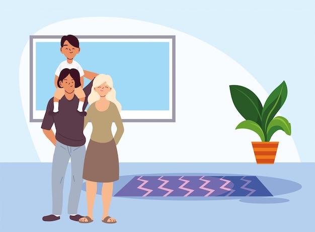 Мать, отец и сын мультфильмы в векторной домашней комнате