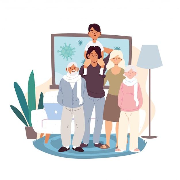 Мать, отец и сын с мультфильмами бабушек и дедушек в векторе домашней комнаты