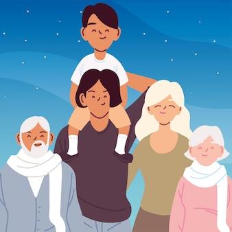 Мать, отец и сын с бабушкой и дедушкой мультфильмы вектор