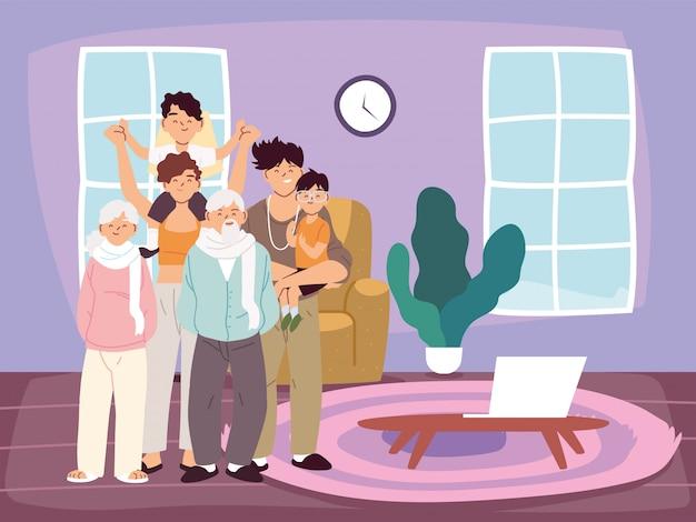 Мать, отец и сыновья с мультфильмами бабушек и дедушек в векторе домашней комнаты