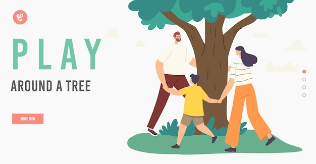 Mother, father and child happy family characters dance around tree landing page template. love tree, togetherness, outdoor environmental activity summer recreation. cartoon people vector illustration