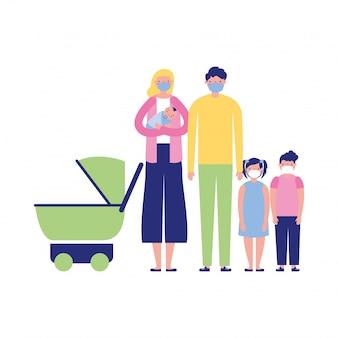 Мать отец дочь сын и ребенок с масками