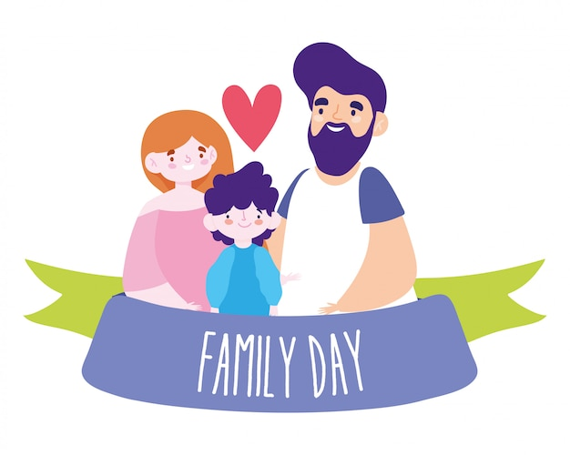 Mother father and daughter with family day ribbon   design
