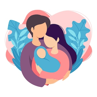 Mother and father holding their newborn baby. couple of husband and wife become parents. man embracing woman with child. maternity, fatherhood, parenting.