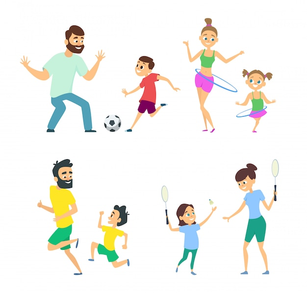 Mother and father playing in active games with children