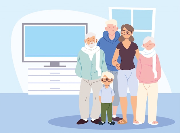 Mother father and son with grandparents cartoons in home room vector