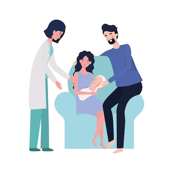 Mother and father with baby and doctor