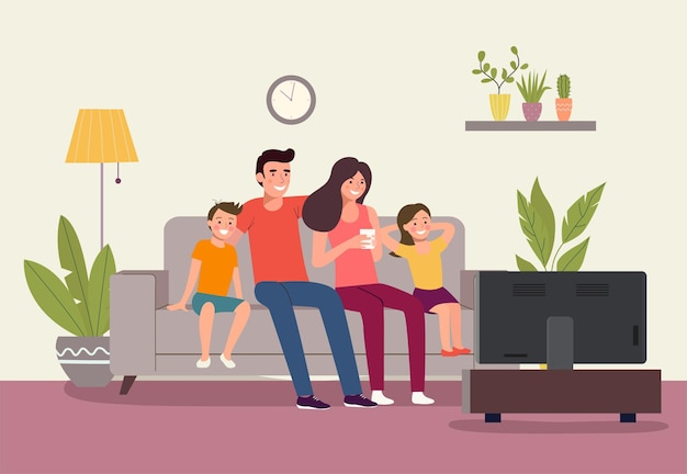 Mother and father with children sitting on sofa and watching tv vector flat style illustration