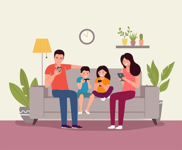 Mother and father with children sitting on the sofa with smartphones. vector flat illustration
