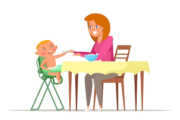 ハイチェアに座っている赤ちゃんにスプーンを与える幼児のイラストの若いお母さんに餌をやる母