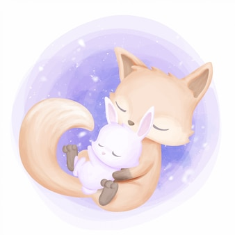 Mother fox hug baby rabbit