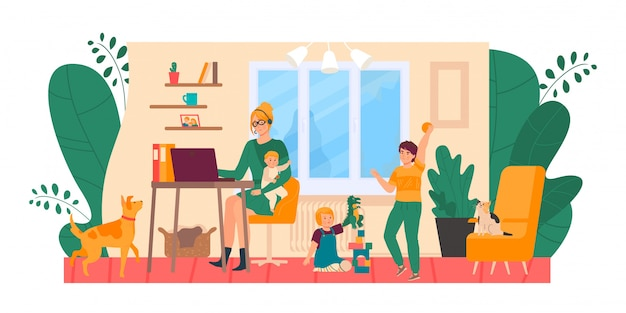 Mother freelance at home, stressed with kids  illustration. tired and annoyed woman at computer, children and pets make mess