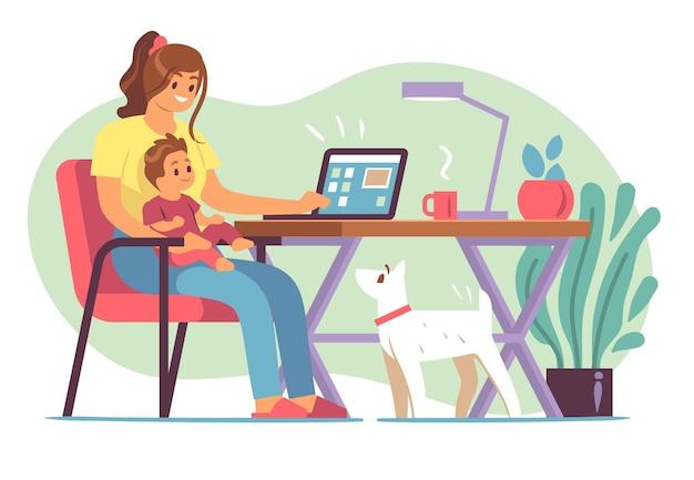 어머니 프리랜서. 어린 어머니는 아이를 키우고 먼 사무실에서 노트북으로 집에서 일하고, 원격 근무는 플랫 프리랜서 작업 공간 개념을 사용합니다.