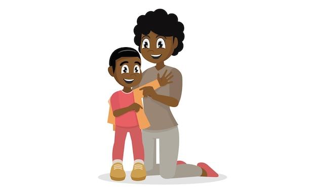 Мать помогает одеться на своего мальчика-ребенка