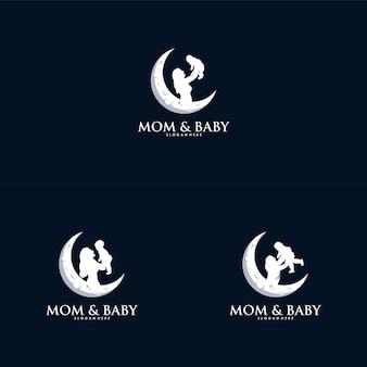小さな赤ちゃんのロゴデザインベクトルを保持している母親
