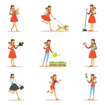 Мать с ребенком на руках делает различные виды деятельности набор иллюстраций
