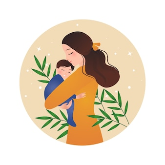 Mother holding a baby parenting concept